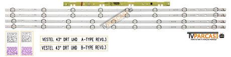 VESTEL 43 DRT UHD A-TYPE REV0.3, VESTEL 43 DRT UHD B-TYPE REV0.3, 30095284, 30095285, 23393671, A-TYPE, B-TYPE, LED Backlight, VES430QNDL-2D-N11, VES430QNDL-2D-U11, 23369162